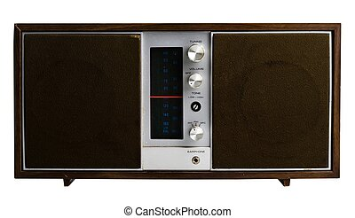 Old classic radio on a white background