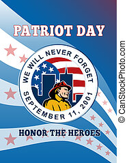 American Patriot Day Remember 911 Poster Greeting Card -...