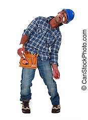 Tradesman suffering from a work-related injury