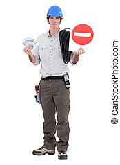road worker holding a traffic sign and bills