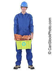 trabajadores, Ladrillos, reciclaje