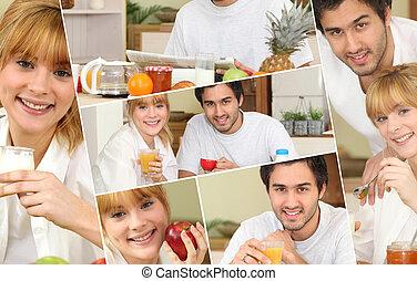 Couple having a healthy breakfast