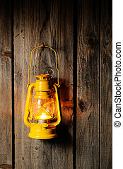Kerosene lantern - The old kerosene lantern hanging on the...