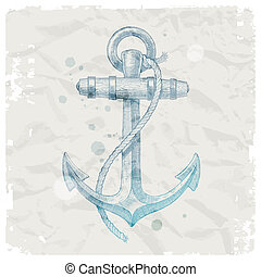 Hand drawn anchor on grunge paper background - vector...