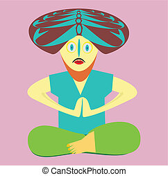 The yogi in an asana - The vector image of the yogi of a...