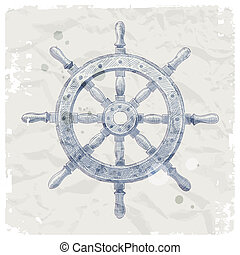 Hand drawn ship steering wheel - Hand drawn vector...