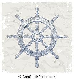 mano, dibujado, barco, entrepuente, rueda