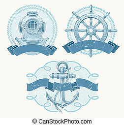 Nautical vector vintage emblems - Nautical vector emblems...