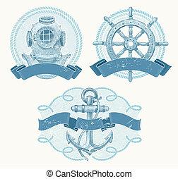 náutico, vector, vendimia, emblemas