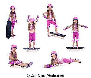 Little girl in pink with skateboard