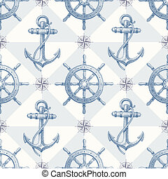 Seamless nautical background - Vector seamless nautical...