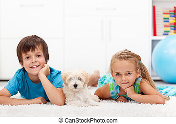 Kids with their pet - Happy kids with their pet - a fluffy...