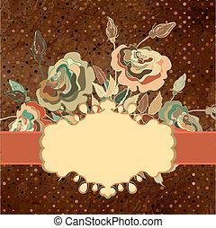 Colorful roses frame on beidge polka dot. EPS 8 - Ornamental...