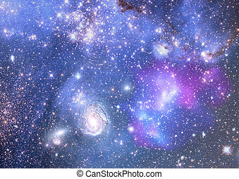 Far away galaxy - Stars of a planet and galaxy in a free...