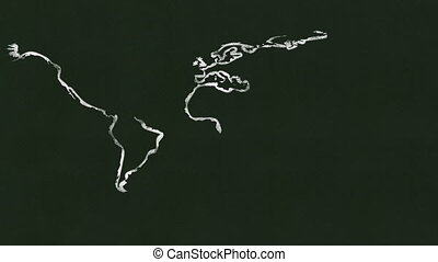 Drawing a Map - A world map being drawn on a black board Map...