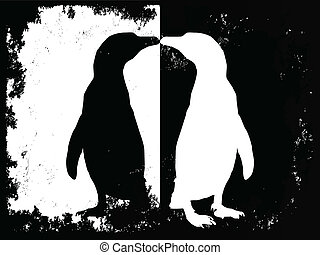 penguin black and white