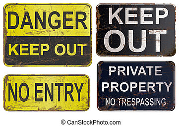 Set of rusty sign isolated on white - Set of rusty sign,...