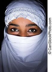 blanco, velo, africano, mujer