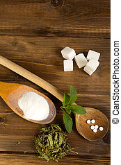 Various forms of stevia sweetener - Various forms of stevia...