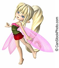 Cute Toon Summer Petals Fairy - Cute toon fairy girl with...
