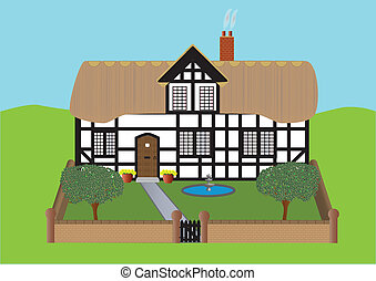 Thatched Cottage - A Half Timbered Thatched Cottage and...
