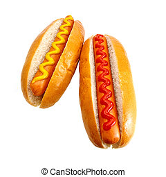 Hot dogs or Wieners with mustard and ketchup toppings, the...