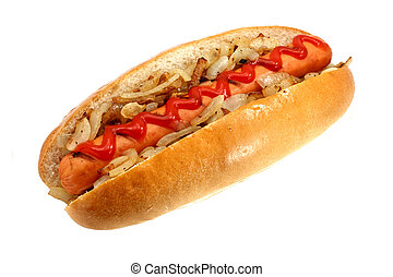 Griiled hot dog with onions - Grilled Hot dog or Wiener with...