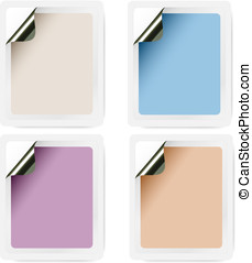 Collection of empty selfadhesive labels in pastel colours...