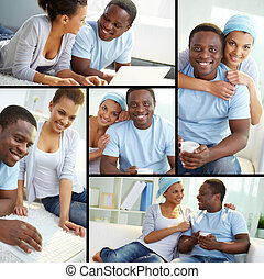 Sweethearts - Collage of young African couple at home