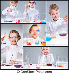 Scientific research - Collage of young prodigies carrying...