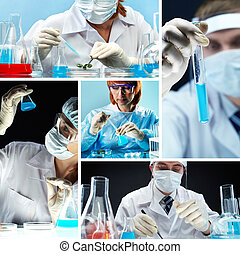 Bio research - Collage of people in medical uniform working...