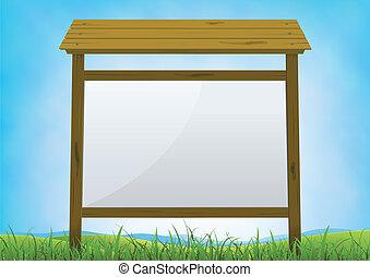 Summer Forest Sign Billboard - Illustration of a cartoon...
