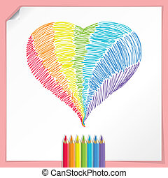 Rainbow Heart With Color Pencils - Vector illustration with...