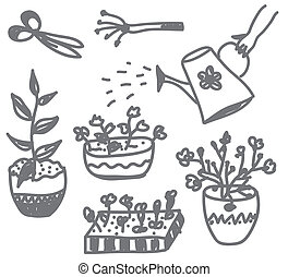 Flowers gardening doodle with pots, cans and instruments