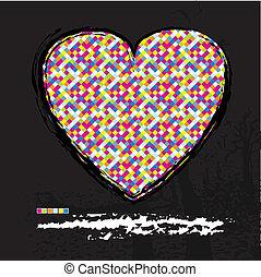 Heart modern design background with grunge elements