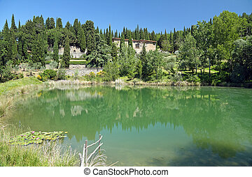 fantastic tuscan landscape with Villa Peyron in Fiesole,...