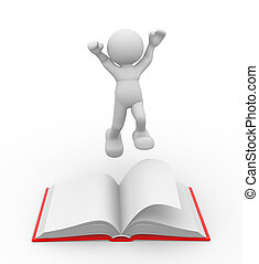 Book - 3d people - men , person and a book. Education...