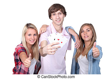 students with cards