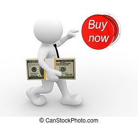 quot;Buy nowquot; - 3d people - man , person with stack of...