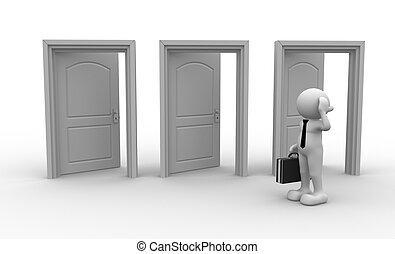 Businessman - 3d people - men, person and open doors....
