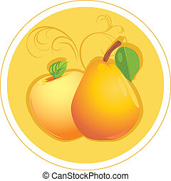 Apple and pear. Sticker