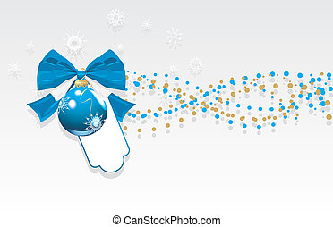 Christmas ball with bow. Banner