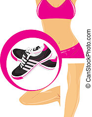 Sneakers and female body parts - Pair of black sneakers and...