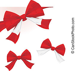 Red bows isolated on the white