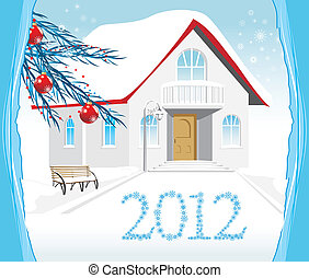 Winter house. Christmas card