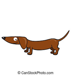 Dachshund - Vector illustration of smiling cute cartoon...
