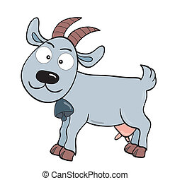 Goat - Vector illustration of smiling cute cartoon goat