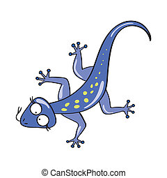 Lizard - Vector illustration of smiling cute cartoon lizard