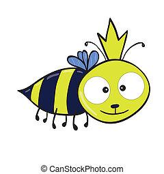 Queen bee - Vector illustration of smiling cute cartoon...