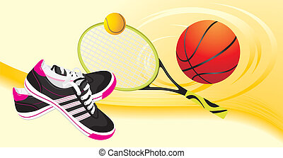 Sporting banner - Trainers shoes and tennis racket with...
